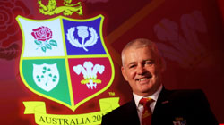 Warren Gatland with Lions badge
