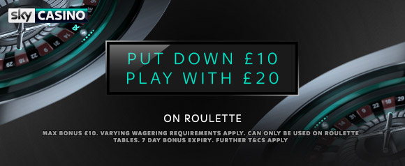Deposit £10 Play With £20 on Roulette